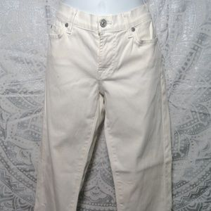 7 for All Mankind White Jeans Pink Rhinestone